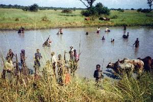 (Photograph of the river with villagers and cattle)
