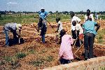 (Photograph of foundations being laid for girls' hostel in Soroti in May 2002)